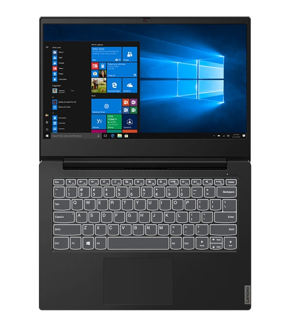 Lenovo IdeaPad S340 (14, Intel) open 180 degrees showing display and backlit keyboard