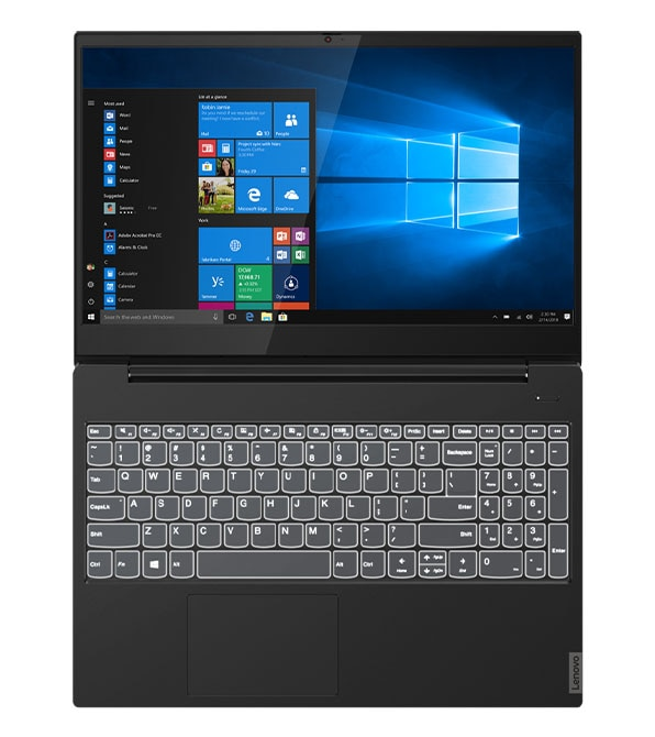 Lenovo IdeaPad S340 (15, Intel) open 180 degrees showing display and backlit keyboard