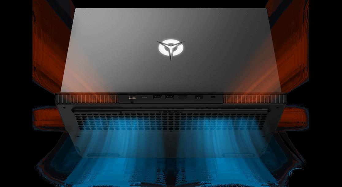 Lenovo Legion 5P laptop, rear view illustrating thermals