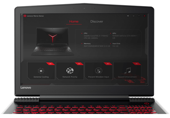Lenovo Legion Y520 Display Featuring Lenovo Nerve Center Dashboard