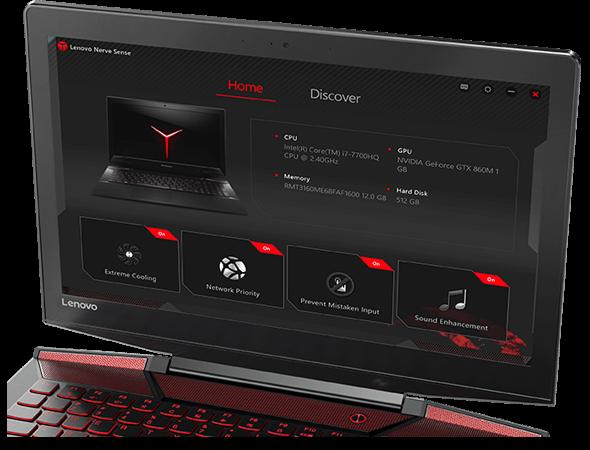 Lenovo Legion Y720 Display Featuring Lenovo Nerve Center Application