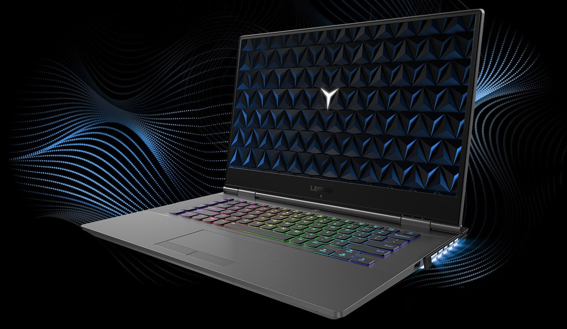 Legion Y530 15-inch gaming laptop - 3/4 front view, open, with soundwave graphics in background