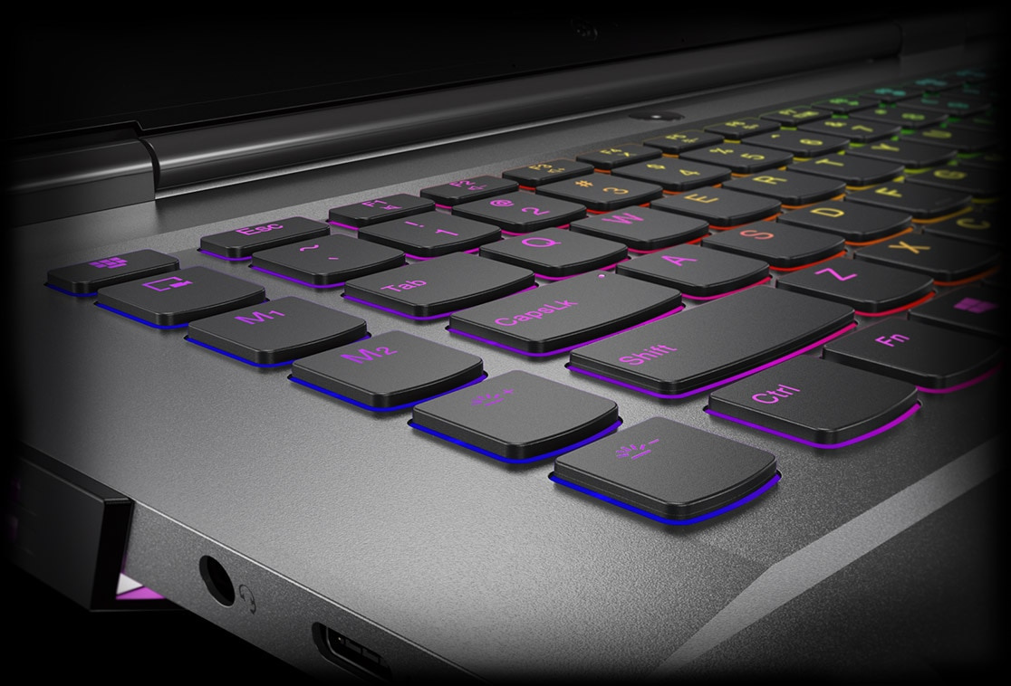 Legion Y530 15-inch gaming laptop - closeup of RGB keyboard
