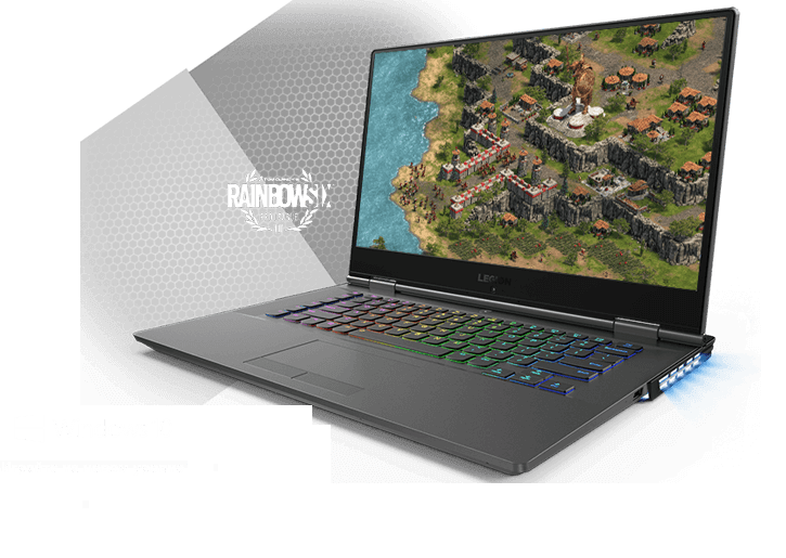 Legion Y530 15-inch gaming laptop - 3/4 front view with RGB keyboard lighting and Rainbow Six Pro League logo in background