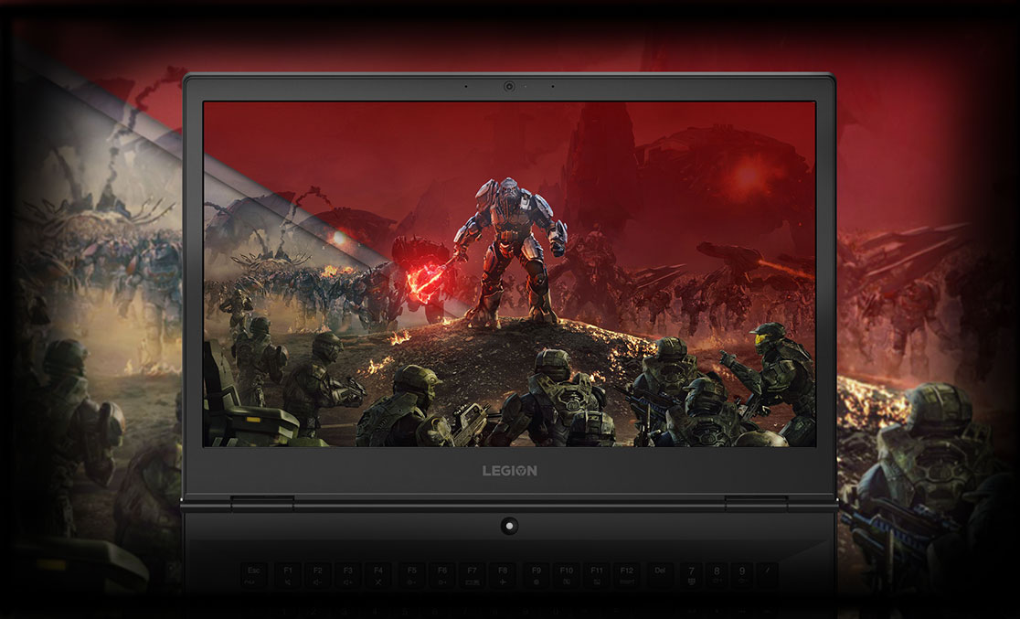 Lenovo Legion Y730 Laptop open display with gaming background