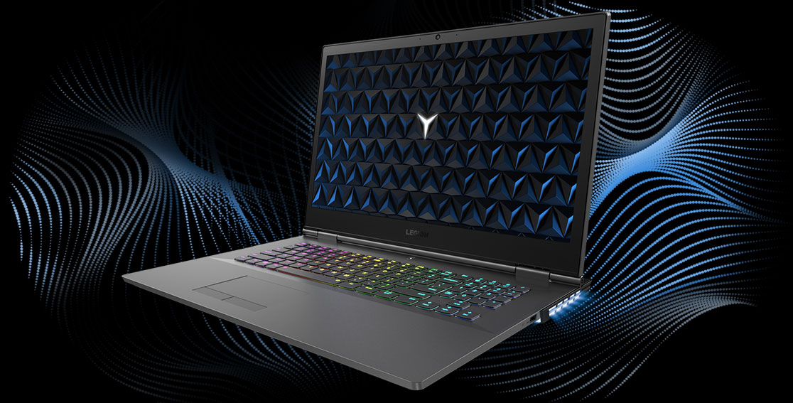 Legion Y530 17-inch gaming laptop - 3/4 front view, open with soundwave graphic as background