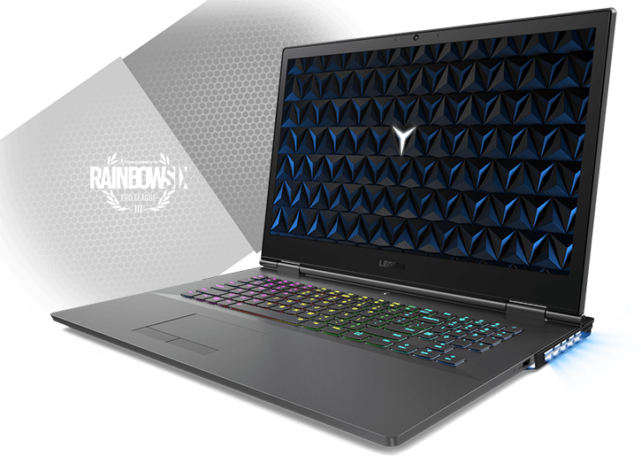 Legion Y530 17-inch gaming laptop - 3/4 front view, open with RGB keyboard lighting and Rainbow Six Pro League logo in background