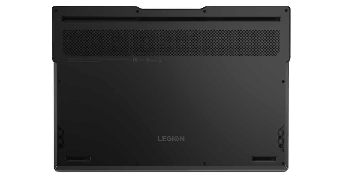 The underneath of a Lenovo Legion Y740Si, showing the cooling vent and Legion logo