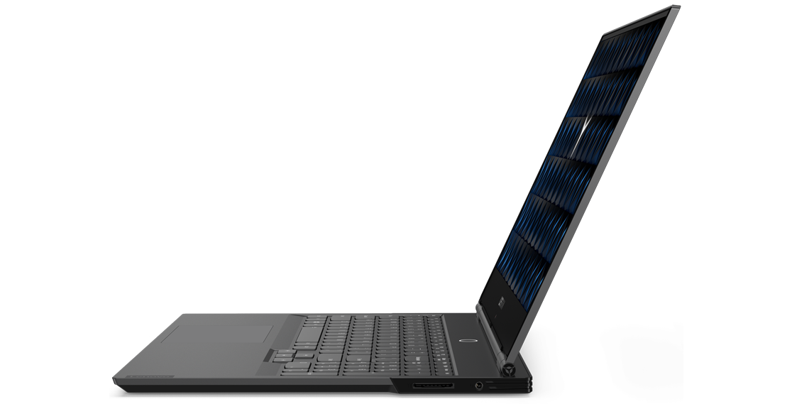A side view of an Lenovo Legion Y740Si, with screen opened at just over 90 degrees