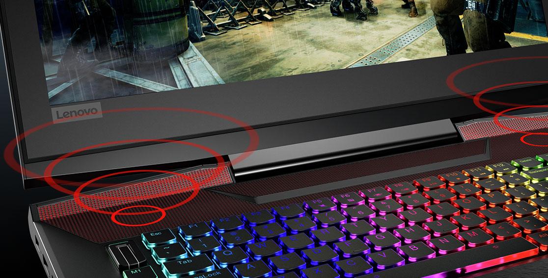 Lenovo Legion Y920 keyboard view of JBL speakers