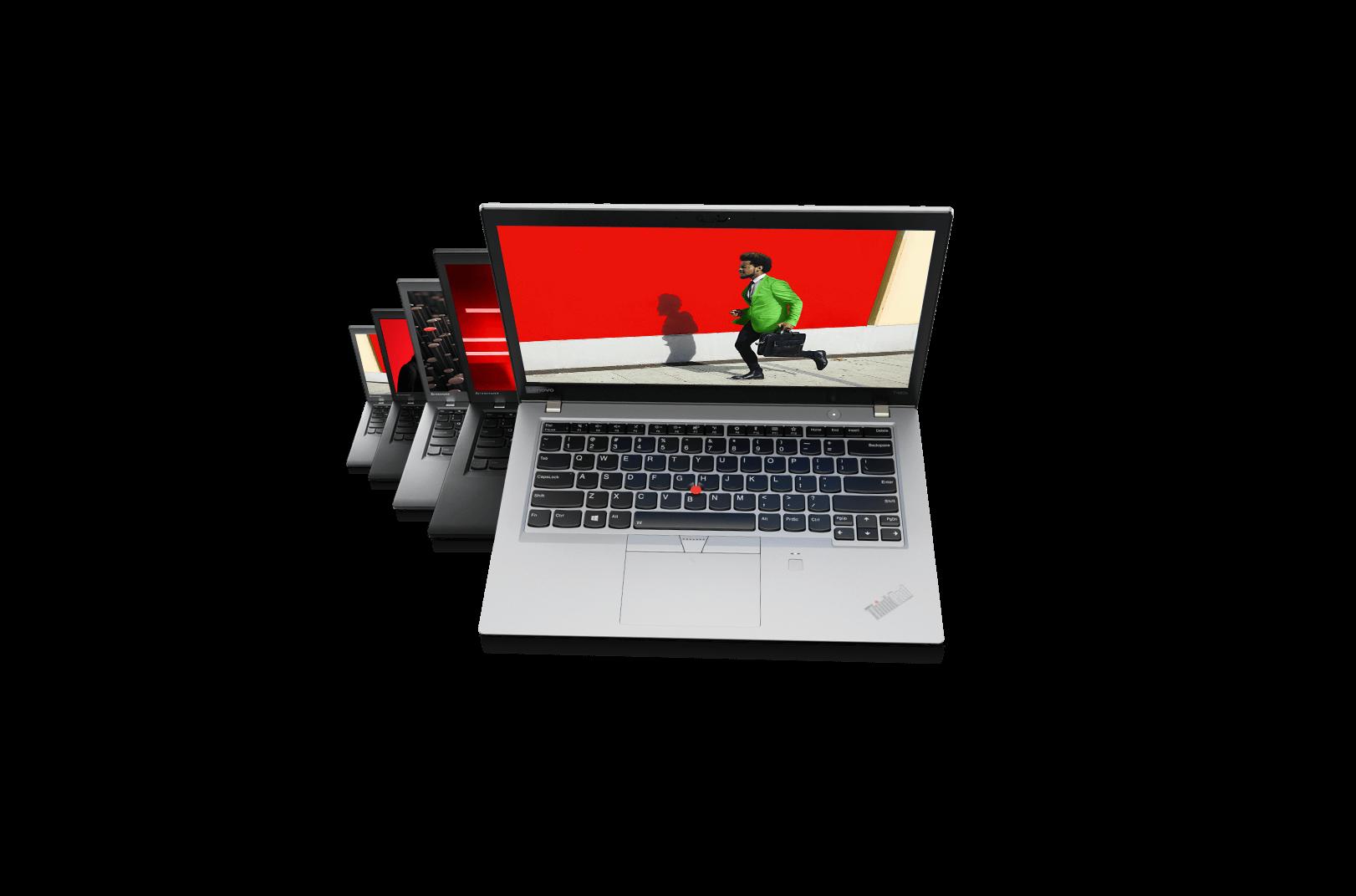 Cinq portables Lenovo ThinkPad série T l'un derrière l'autre, chacun ouvert à environ 75 degrés, en alternance