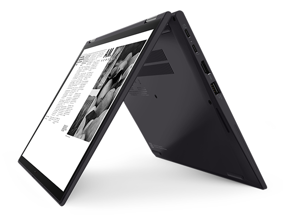 """ThinkPad X13 Yoga Gen (13"""" Intel) laptop – right view, in tent mode"""