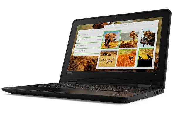 Lenovo ThinkPad 11e (5th Gen) education laptop open 90 degrees, angled right.