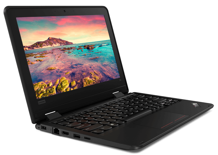 Durable Lenovo ThinkPad 11e (5th Gen) education laptop open 95 degrees and angled  to display left side ports.
