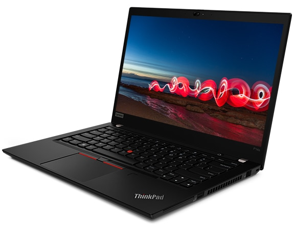A side view of the ThinkPad P14s Mobile Workstation, showing the keyboard and the display showing a beach at night