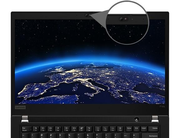 O vedere frontală a stației de lucru mobile ThinkPad P14s, care evidențiază ThinkShutter și afișajul care arată lumea noastră din spațiul cosmic