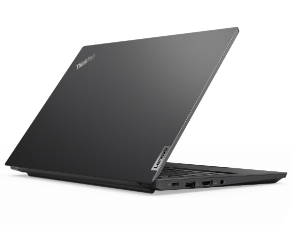 Rear right three-quarter view of black Lenovo ThinkPad E14 Gen 2