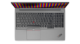 Thumbnail image of overhead view of silver Lenovo ThinkPad E15 Gen 2 laptop open 90 degrees