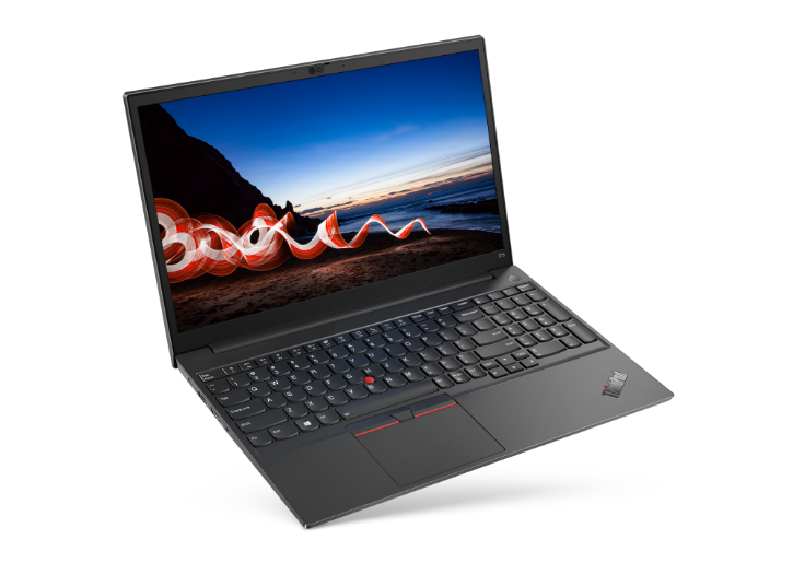 Right three-quarter view of black Lenovo ThinkPad E15 Gen 2 tilted to sit on its front right corner