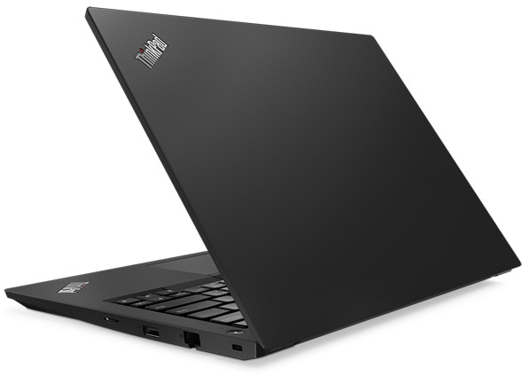 Lenovo ThinkPad E485 14-inch laptop shot from the back, open about 80 degrees.