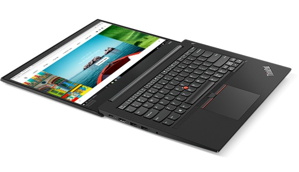 Lenovo ThinkPad E485 laptop open 180 degrees.