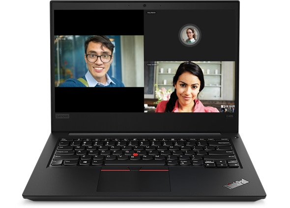 Lenovo ThinkPad E485 laptop open 90 degrees showing video conference.