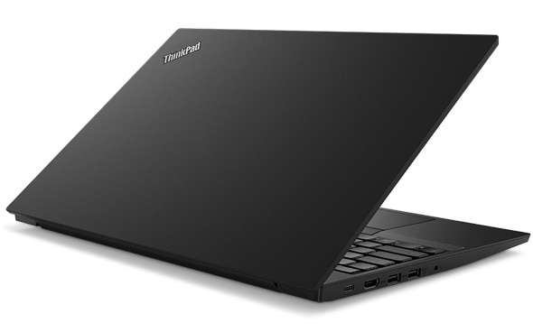 Rear-facing image of Lenovo ThinkPad E585 laptop open about 70 degrees.