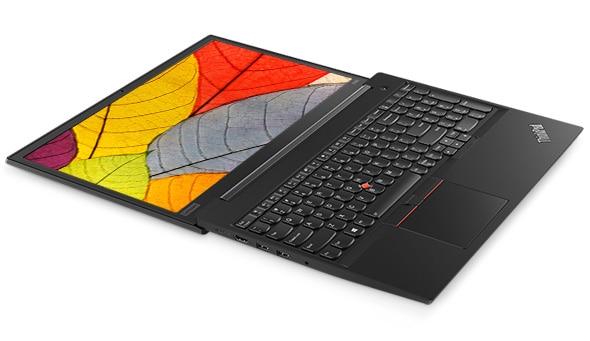 Lenovo ThinkPad E585 laptop laying flat, open 180 degrees.