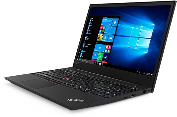 Lenovo ThinkPad E585 laptop with Windows 10 Pro open 95 degrees, slightly angled to show left side ports.