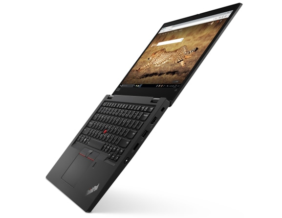 Left three-quarter view of black Lenovo ThinkPad L13 Gen 2 open 180 degrees