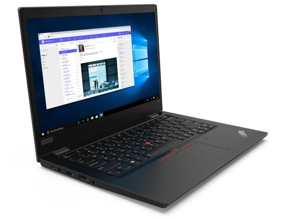 Right three-quarter view of black Lenovo ThinkPad L13 Gen 2 open 90 degrees