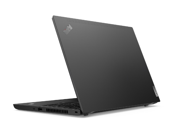 Rear-view of Lenovo ThinkPad L14 Gen 2 (Intel) laptop open about 80 degrees, angled slightly to show right-side ports.