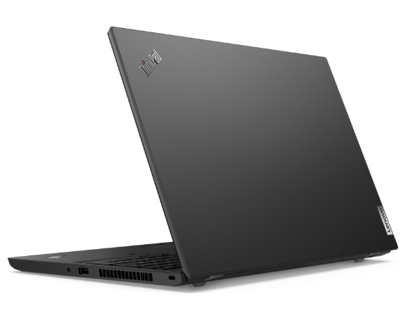 """Lenovo ThinkPad L15 Gen 2 (15"""" AMD) laptop—3/4 right-rear view with lid partially open"""