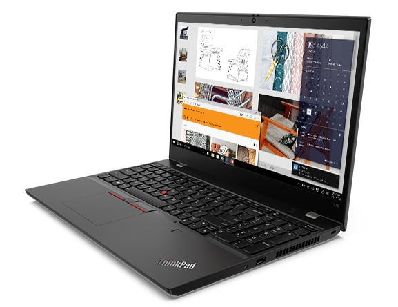 Lenovo ThinkPad L15 laptop open 90 degrees, angled to show right-side ports.