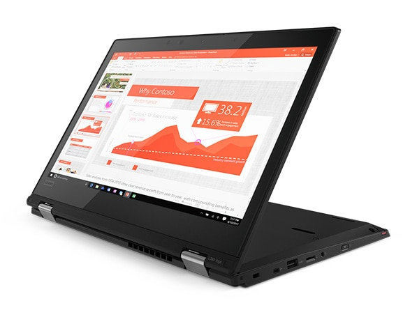 ThinkPad L380 Yoga enterprise 2-in-1, shown in Stand Mode