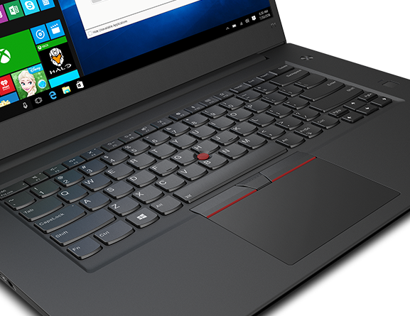 Close-up shot of the ThinkPad P1's keyboard and trackpad
