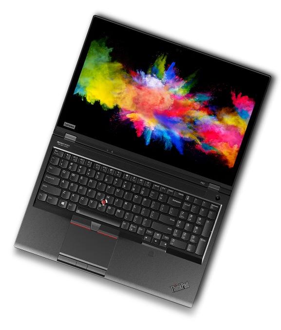 Máy trạm di động Lenovo ThinkPad P53 mở 180 độ, hiển thị bàn phím và mặt hiển thị.