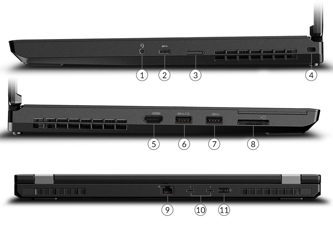Vue latérale du portable ThinkPad P53 montrant les ports