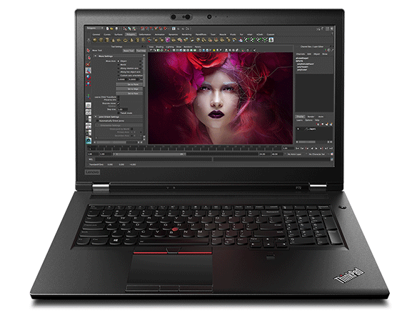 Front shot of the ThinkPad P72 with a photo being edited on screen