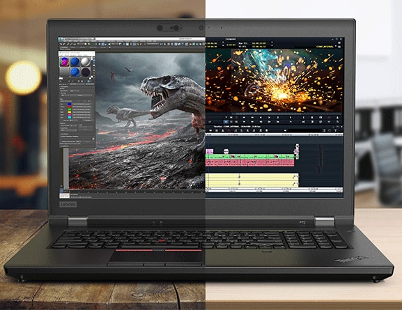 Two shots – one gaming, one video ¬¬– how the ThinkPad P72 can be used for entertainment, too