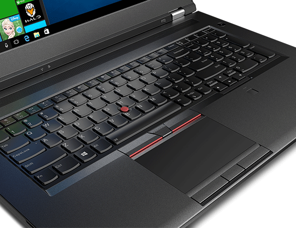 Close-up shot of the ThinkPad P72's keyboard and trackpad