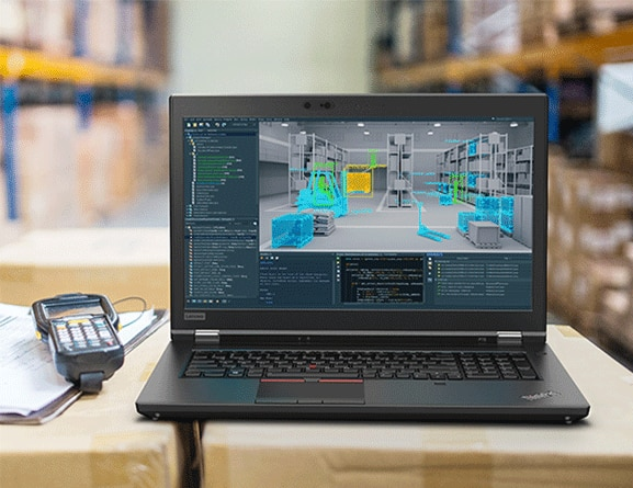 Shot of the ThinkPad P72 with the keyboard opened and 3D software on the display