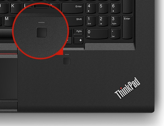 Close-up shot of the ThinkPad P72's fingerprint reader