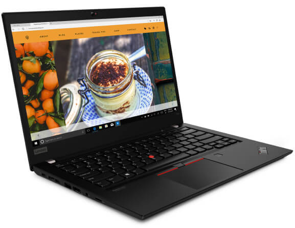 The ThinkPad T14 laptop open 90 degrees to show display and keyboard, angled slightly to show left side ports.