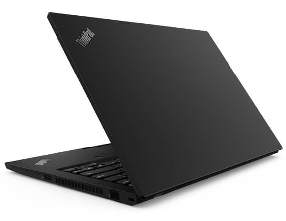 Sisi belakang laptop Lenovo ThinkPad T14 miring untuk menunjukkan port sisi kiri dan keyboard parsial.