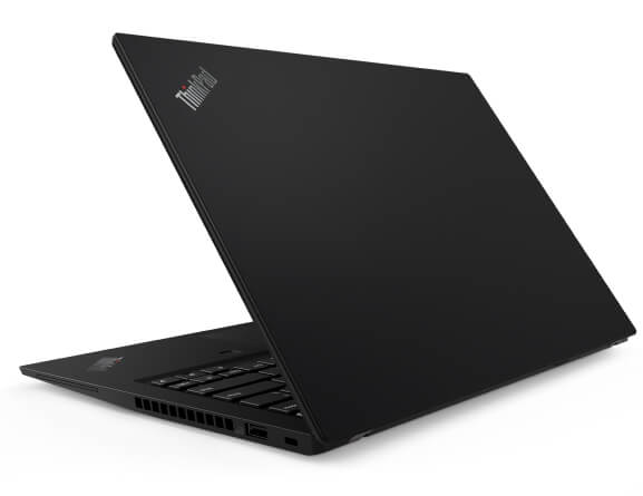 Rear view of the Lenovo ThinkPad T14s laptop open about 75 degrees and angled slightly to show right-side ports.