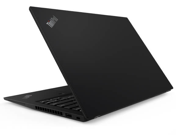 Back-side view of Lenovo ThinkPad 14s laptop in black, angled slightly to show right-side ports and part of keyboard.