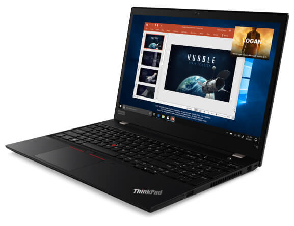 The ThinkPad T15 (Intel) laptop  open 90 degrees and angled slightly to show right side ports.