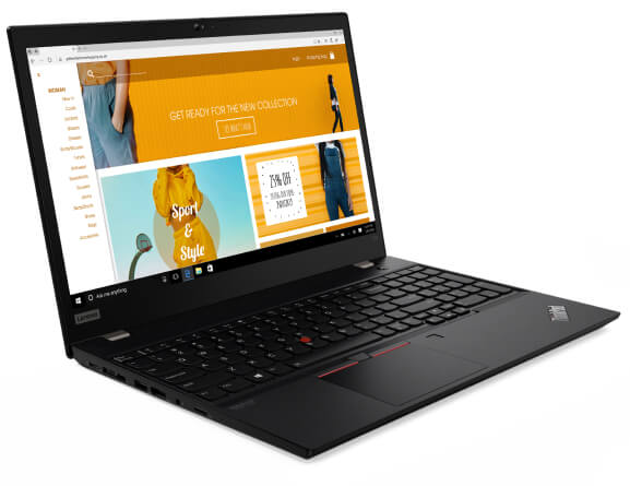 The ThinkPad T15 (Intel) laptop open 90 degrees showing keyboard and screen, angled slightly to show left side ports.