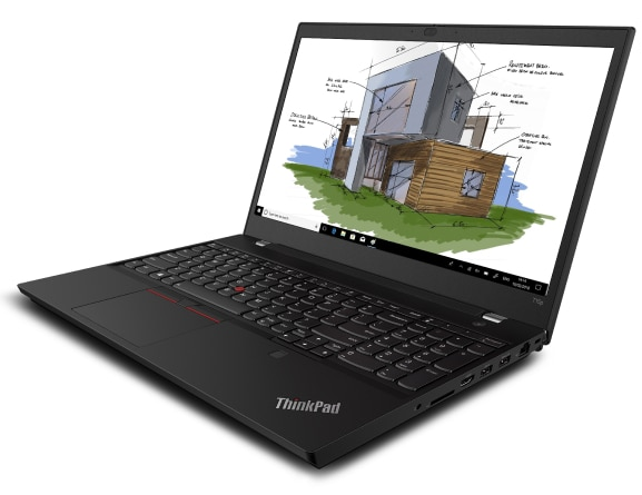 Lenovo ThinkPad T15p laptop open 90 degrees, angled to show right side ports.
